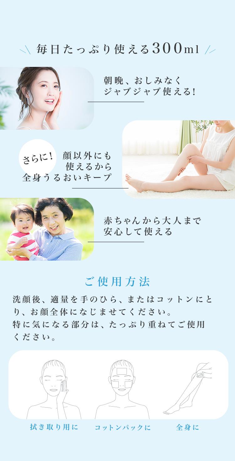 毎日たっぷり使える300ml  朝晩、おしみなくジャブジャブ使える! さらに!顔以外にも使えるから全身うるおいキープ  赤ちゃんから大人まで安心して使える   ご使用方法 洗顔後、適量を手のひら、またはコットンにとり、お顔全体になじませてください。特に気になる部分は、たっぷり重ねてご使用ください。 拭き取り用に コットンパックに 全身に